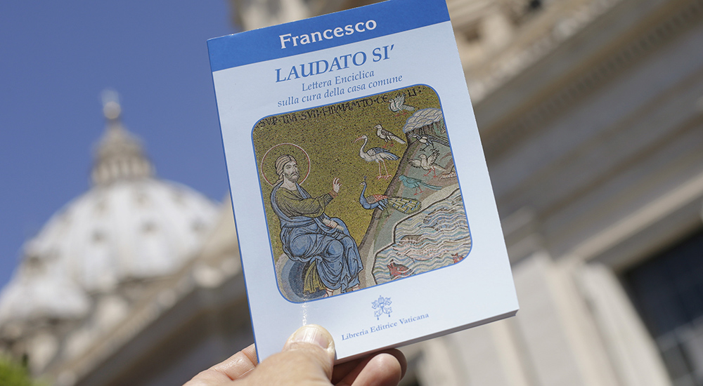 "Pope Francis' new encyclical titled ""Laudato Si (Be Praised), On the Care of Our Common Home"", is displayed during the presentation news conference at the Vatican June 18, 2015. Pope Francis demanded swift action on Thursday to save the planet from environmental ruin, urging world leaders to hear ""the cry of the earth and the cry of the poor"", plunging the Catholic Church into political controversy over climate change. In the first papal document dedicated to the environment, he calls for ""decisive action, here and now,"" to stop environmental degradation and global warming, squarely backing scientists who say it is mostly man-made. REUTERS/Max Rossi - RTX1H1Q0"